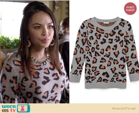 PLL Fashion: Club Monaco Lina cheetah sweater worn by Janel Parrish
