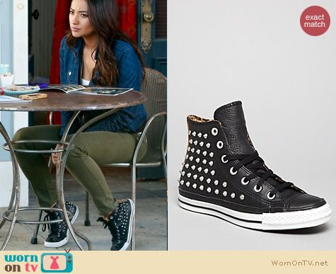 PLL Fashion: Converse All stars leather high top studded shoes worn by Shay Mitchell