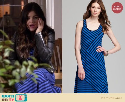 PLL Fashion: DKNY Blue Striped Racer Back Maxi Dress worn by Lucy Hale