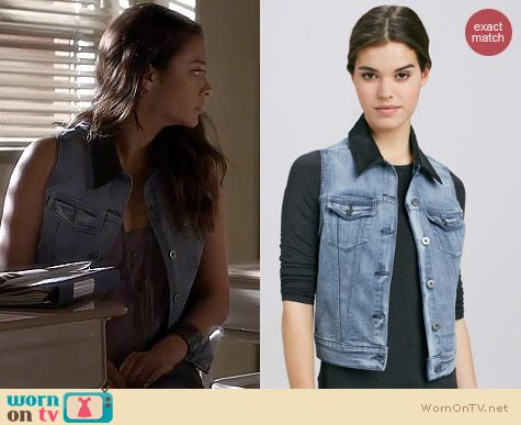 PLL Fashion: 1961 Rizzo rush leather collar denim vest worn by Shay Mitchell