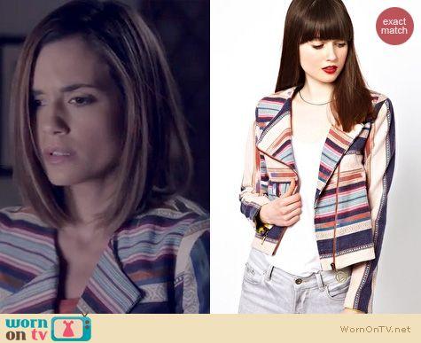 PLL Fashion: Eleven Paris Aztec striped biker jacket worn by Torrey DeVitto