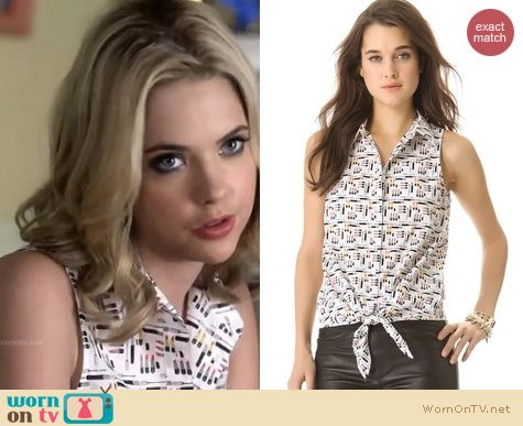 PLL Fashion: Equipment Mina blouse in makeup print worn by Ashley Benson