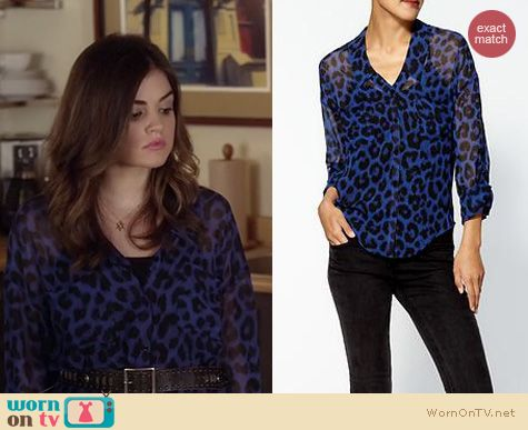 Pretty Little Liars Fashion: Free People Easy Rider top in blue leopard worn by Lucy Hale