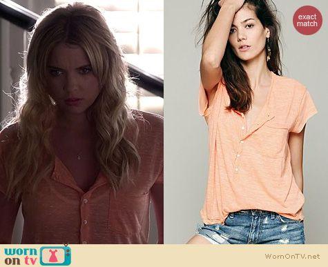 PLL Fashion: Free People Ex Boyfriend Tee in orange worn by Ashley Benson