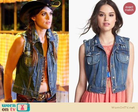 PLL Fashion: Free People Macrame Denim vest worn by Lindsey Shaw
