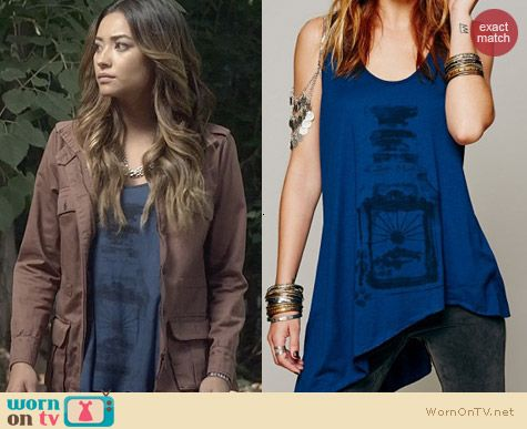 PLL Fashion: Free People We The Free Waterfall Graphic Tank worn by Shay Mitchell