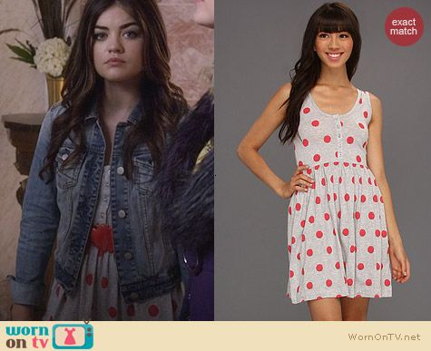PLL Fashion: French Connection Polka Dot Dress worn by Lucy Hale
