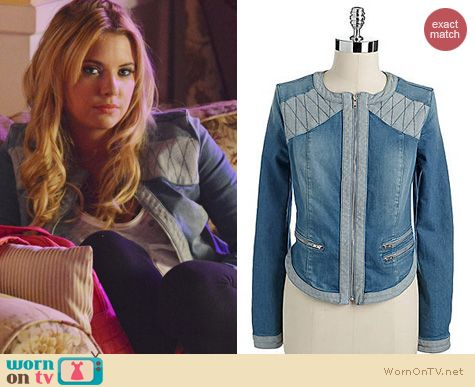 PLL Fashion: Guess Showgirl Denim jacket worn by Ashley Benson