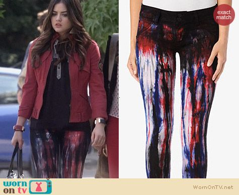 Fashion of PLL: Hudson Jeans Collin Skinny  Jeans in Brit Punk worn by Lucy Hale