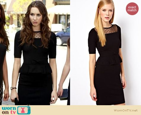 PLL Fashion: Karen Millen peplum dress worn by Troian Bellisario