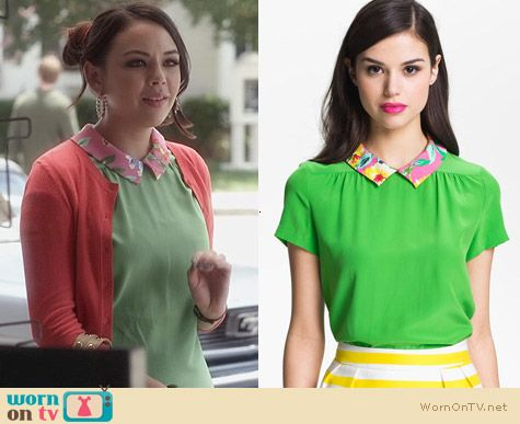 PLL Fashion: Kate Spade Tessa Silk Top worn by Janel Parrish