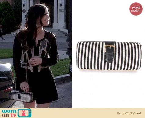 PLL Fashion: Kitson striped purse clutch worn by Lucy Hale