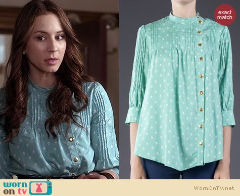 PLL Fashion: Lauren Moffatt Geometric Tulip Blouse worn by Troian Bellisario