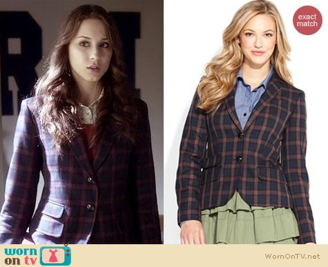 PLL Fashion: Macys QMack plaid blazer worn by Troian Bellisario
