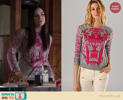 PLL Fashion: Maje Akker Lion/Tiger Sweater worn by Lucy Hale