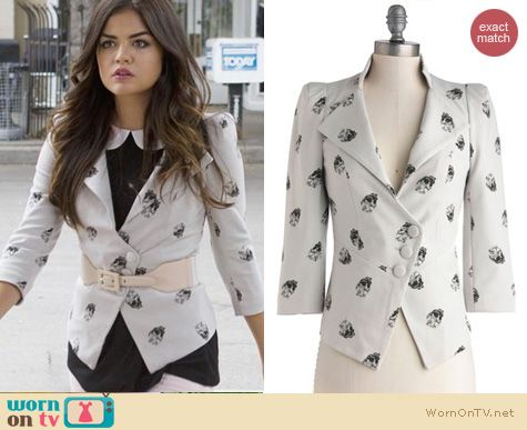 PLL Fashion: ModCloth A Heart Skull of Love blazer worn by Lucy Hale