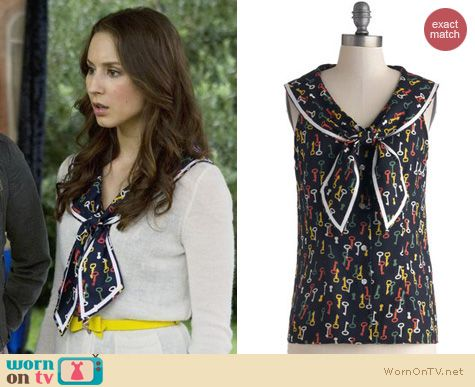 PLL Fashion: ModCloth Key to the Sea Top by Bettie Page worn by Troian Bellisario