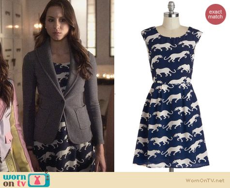 PLL Fashion: ModCloth Paws a Commotion Dress worn by Troian Bellisario
