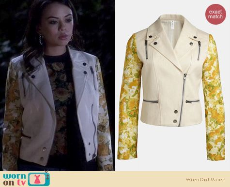 PLL Fashion: Mural Mixed Media Moto Jacket worn by Janel Parrish