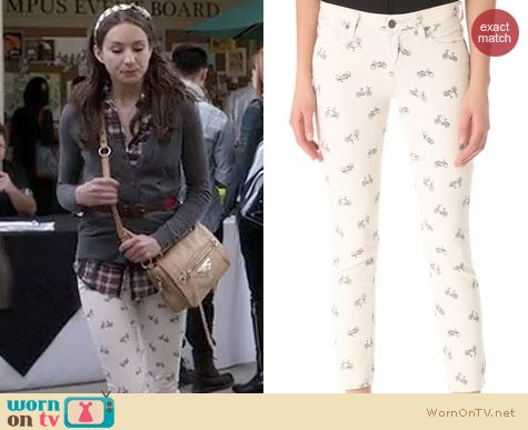 PLL Fashion: Paige Denim Bicycle print Kylie cropped retro jeans worn by Troian Bellisario