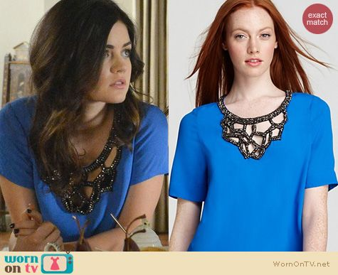 PLL Fashion: Plenty by Tracy Reese embellished crepe top worn by Lucy Hale