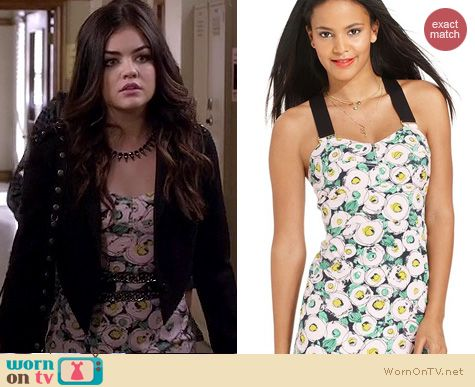 PLL Fashion: Rachel Roy floral dress worn by Lucy Hale