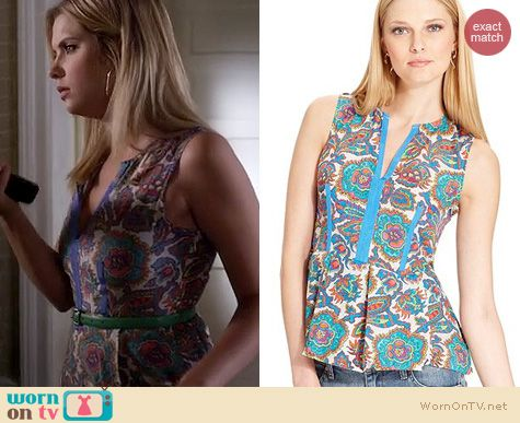PLL Fashion: Rachel Roy Jacobean Floral Peplum Tank worn by Ashley Benson