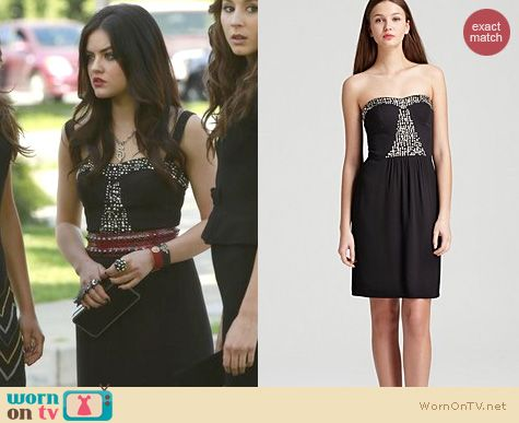 PLL Fashion: Rebecca Taylor Black strapless beaded dress worn by Lucy Hale