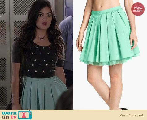 PLL Style: Remain Crinoline pleated skirt worn by Lucy Hale