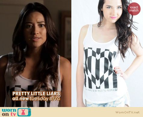 PLL Fashion: Royal Rabbit Love Struck Flowy Tank worn by Shay Mitchell