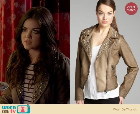 PLL Fashion: Sam Edelman Studded faux leather moto jacket worn by Lucy Hale