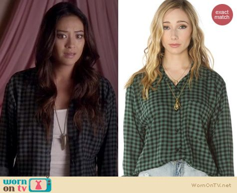 PLL Fashion: See You Monday Checkered Shirt worn by Shay Mitchell