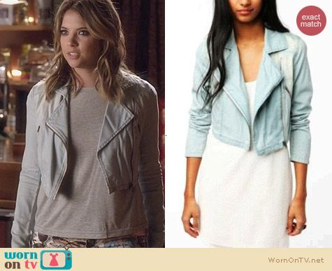 PLL Fashion: Silence and Noise Cropped Denim Moto Jacket worn by Ashley Benson