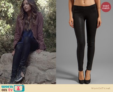 Fashion of PLL: Sold Design Lab Soho Super Skinny in Black Cracked Ice worn by Shay Mitchell