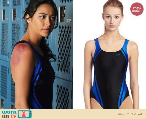 cf497740ec WornOnTV: Emily's black and blue one piece swimsuit on Pretty Little ...