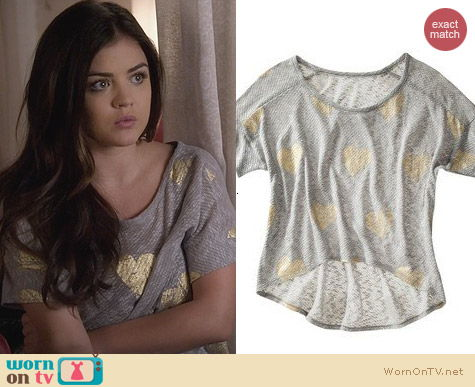 PLL Fashion: Target Xhilaration Heart Graphic High Low Tee worn by Lucy Hale
