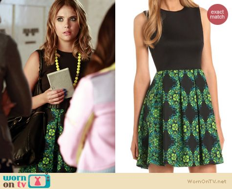 PLL Fashion: Taylor Dresses Green Mirror Print Fit & Flare Dress worn by Ashley Benson