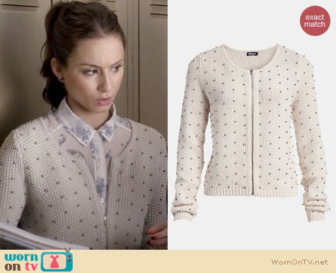 PLL Fashion: Tildon Beaded Bomber sweater worn by Troian Bellisario
