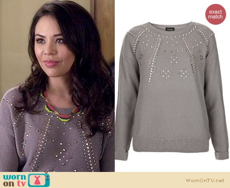 PLL Fashion: Topshop Knitted Embellished Ray Jumper worn by Janel Parrish