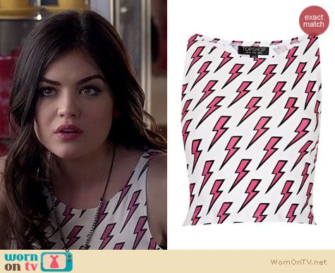 PLL Fashion: Topshop Lightning Bolt Crop Top worn by Lucy Hale