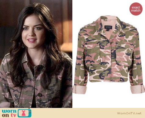 PLL Fashion: Topshop Pink Cropped Camo Jacket worn by Lucy Hale