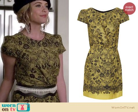 PLL Fashion: Topshop yellow lace placement twist dress worn by Ashley Benson