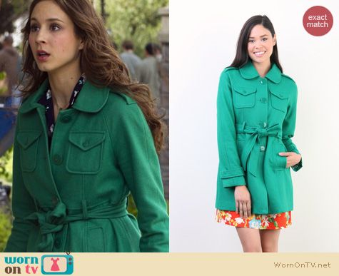 PLL Fashion: Tulle Raglan sleeve coat with epaulettes worn by Troian Bellisario