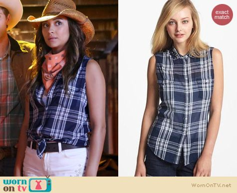 PLL Fashion: Two by Vince Camuto Sleeveless plaid shirt worn by Shay Mitchell