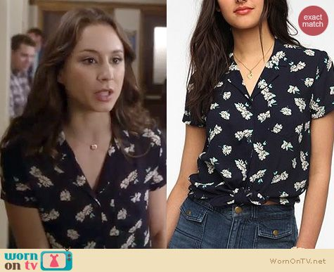 PLL Fashion: Urban Outfitters Kimchi Blue printed tie front blouse worn by Troian Bellisario