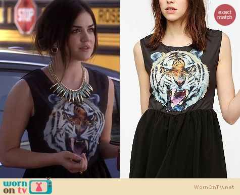 PLL Fashion: Urban Outfitters Reverse Tiger Face Skater Dress worn by Lucy Hale