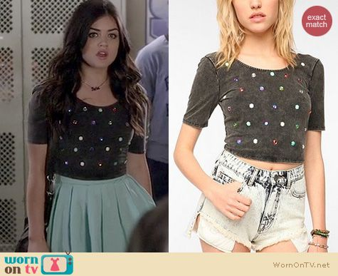 PLL Fashion: Urban Outfitters Silence and Noise Gem embellished cropped tee worn by Lucy Hale