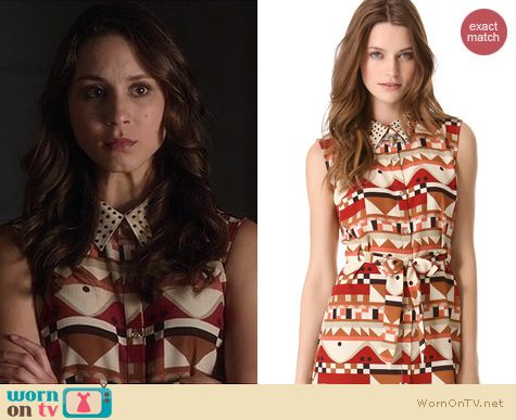 PLL Fashion: Vena Cava Quickstop Geometric print Cutout back dress worn by Troian Bellisario
