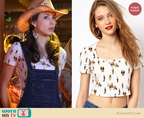 PLL Fashion: Viva Vena Cava Drifter crop top in cowboys and indians worn by Troian Bellisario