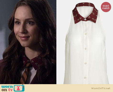 PLL Fashion: Wayf Printed collar chiffon tunic worn by Troian Bellisario